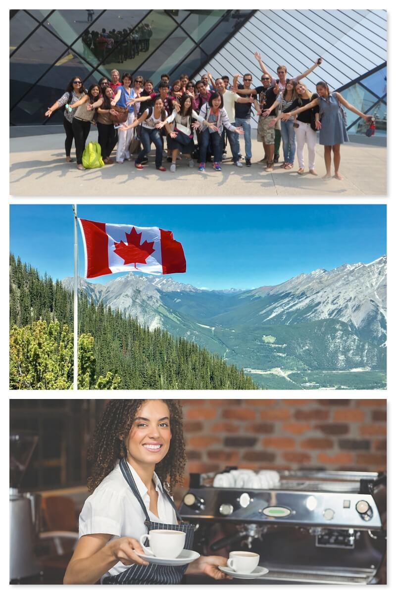 Collage photo de Work & Study au Canada